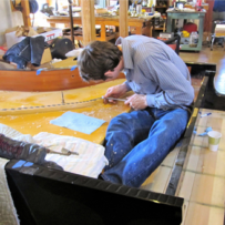Notching a 9′ Hamburg Steinway Bridge at Mollberg Piano Restoration