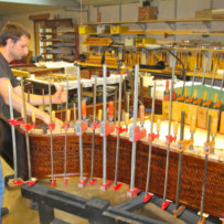 Installing a new soundboard in a model B Steinway at Mollberg Piano Restoration